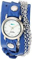 La Mer Women's 'Triple Silver Chain' Quartz Tone and Leather Watch, Color:Blue (Model: LMMULTI201639)
