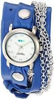 La Mer Women's 'Triple Silver Chain' Quartz Tone and Leather Watch, Color:Blue (Model: LMMULTI201639)