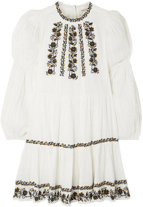 Ulla Johnson Ceres Sequined Embroidered Crinkled Cotton-voile Mini Dress