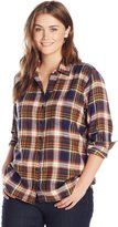 Dickies Women's Plus-Size Long Sleeve Plaid Flannel Shirt Plus