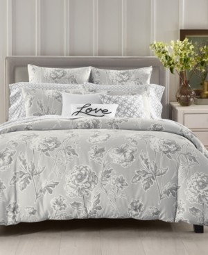 Charter Club Damask Designs Engraved Flower Cotton 300-Thread Count 3-Pc. Full/Queen Duvet Cover Set, Created for Macy's Bedding
