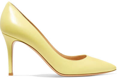 Gianvito Rossi 85 Leather Pumps - Pastel yellow