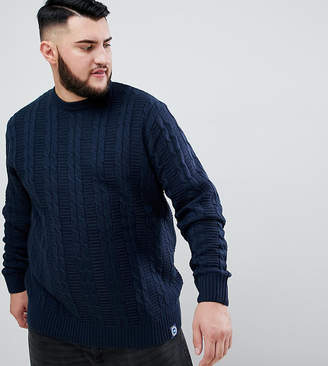 Badrhino BadRhino Big Cable Knitted Jumper In Navy