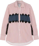 Paul & Joe Silk-paneled Pinstriped Poplin Shirt - Red