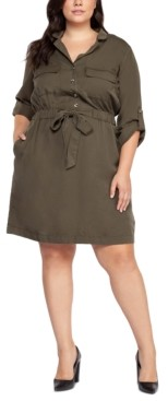 Black Tape Plus Size Tie-Waist Shirtdress
