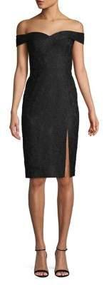 Aidan Mattox Off-The-Shoulder Lace Sheath Dress
