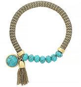 Jessica Simpson Chain-Tasseled Turquoise Stretch Bracelet