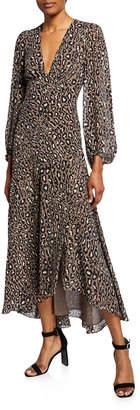 Shona Joy Buell Plunged Animal-Print Long-Sleeve Midi Dress w/ Split