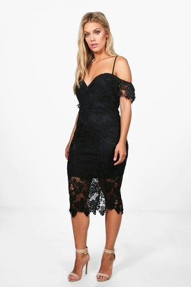 boohoo Plus Corded Lace Midi Dress