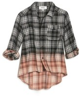 Girl's Maddie Bleached Plaid Flannel Shirt