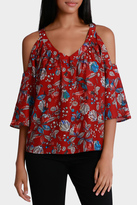 Basque Batik Print Cold Shoulder V Neck Top