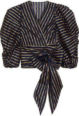 Alexandre Vauthier Cropped Metallic Striped Organza Wrap Top