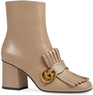 Gucci GG Marmont Kiltie Fringe Leather Booties