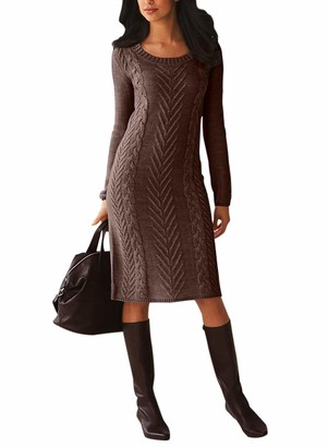 Dokotoo Women's Winter Casual Long Sleeve Solid Color Bodycon Warm Crewneck Knitted Sweater Dress Coffee