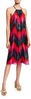 Trina Turk Metallic Chevron Striped Trapeze Halter Dress