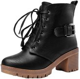 ENMAYER Women's Closed Round Toe Nubuck Square Heel solid Lace Up Boots With Buckle 10 B(M) US