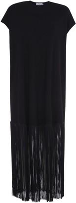 Balenciaga Fringed Hem Long Dress