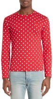 Comme des Garcons Men's Dot Print Long Sleeve Crewneck T-Shirt