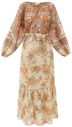 Mes Demoiselles Reunion Belted Floral-print Voile Midi Dress - Beige Print