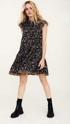 Sea Walker Flutter Sleeve Smocked Dress