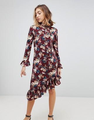 Walter Baker Gayle Asymmetric Hem Floral Print Dress-Red