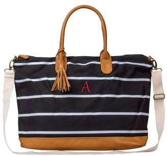 Cathy's Concepts Cathy Women's Monogrammed Black Striped Oversized Weekender Bag