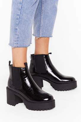 Nasty Gal Womens Croc What You're Doin' Patent Heeled Boots - black - 3