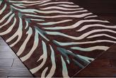 Retro Chic Hand-tufted Brown/blue Zebra Animal Print Rug (8 X 11)