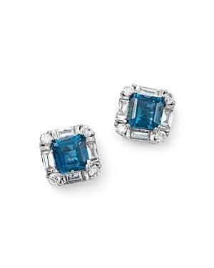 Bloomingdale's London Blue Topaz & Diamond Square Stud Earrings in 14K White Gold - 100% Exclusive