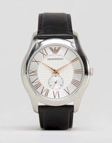 Emporio Armani Black Leather Watch With Rose Gold Detail Ar1984