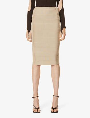 Herve Leger Bandage high-waist stretch-knit midi skirt