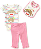 Baby Starters Baby Girls 3-12 Months 3-Piece Sock Monkey Layette Set