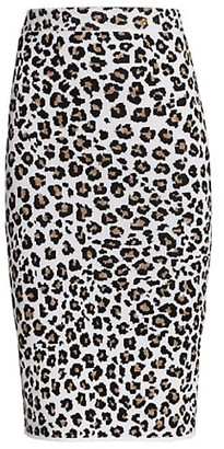 Versace Leopard-Print Knit Pencil Skirt
