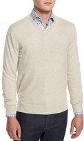 Neiman Marcus Cashmere V-Neck Sweater, Spelt