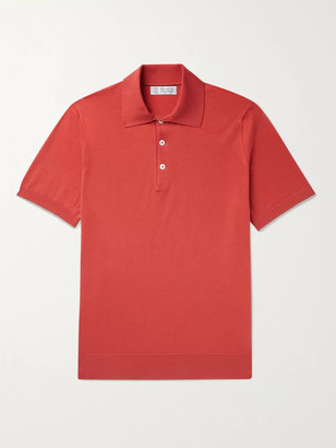 Brunello Cucinelli Knitted Cotton Polo Shirt - Men - Orange