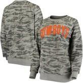 Unbranded Women's Pressbox Camo Oklahoma State Cowboys Gulfport Applique French Terry Crew Neck Sweatshirt