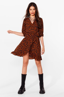 Nasty Gal Womens Forever Wild Animal Wrap Dress - Brown - 6, Brown