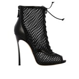 Casadei Heeled Booties Blunt Ankle Boot With Blade Heel In Mesh And Leather