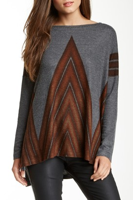 Go Couture Printed Elbow Patch Dolman Sweater