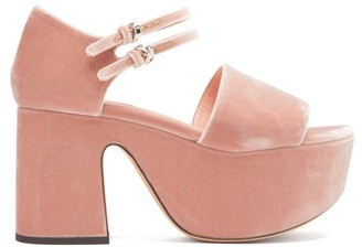 Rochas Velvet-faced Leather Platform Sandals - Light Pink