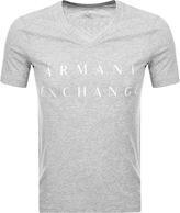 Armani Exchange V Neck Logo T Shirt Grey