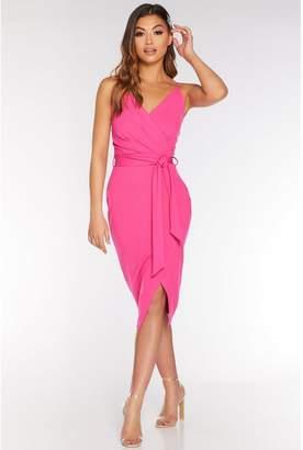 Quiz Fuchsia Wrap Tie Belt Dress