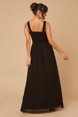 Little Mistress Grace Black Embellished Neck Maxi Dress