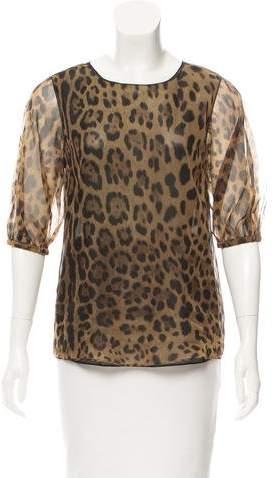 Dolce & Gabbana Leopard Print Silk Top