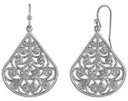2028 Gold Tone Filigree Pear-shaped Earrings