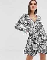 Asos Design DESIGN animal print button through mini dress