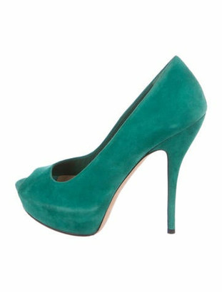 Gucci Suede Peep-Toe Pumps Turquoise