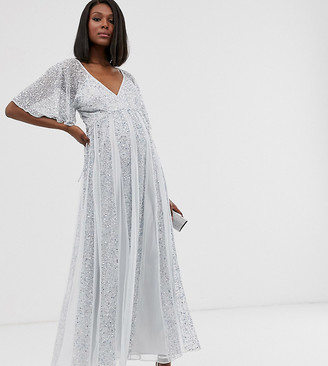 ASOS DESIGN Maternity flutter sleeve maxi dress in mesh with embellished sequin godet panels