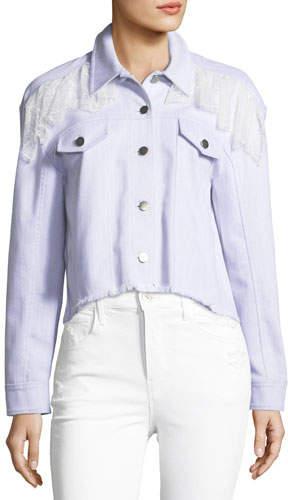Cinq à Sept Ismay Button-Front Cropped Denim Jacket with Lace