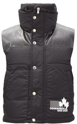DSQUARED2 Faux Leather-panel Quilted-down Shell Gilet - Black